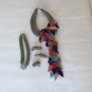 Statement silver necklace jewelry set (handmade)